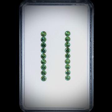 Turmaline, rund facettiert, 18 Steine, 1.51ct. Durchmesser ca. 2.5mm