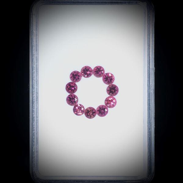 Turmaline, rund facettiert, 11 Steine, 2ct. Durchmesser ca. 3.5mm