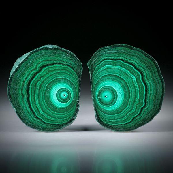 Malachit Querschnitt Paar ca.32x27x4.5mm