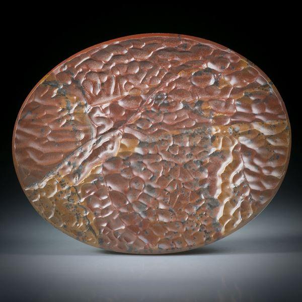 Wüstengestein mit winderodierter Oberfläche, Oval ca.55x43x5mm