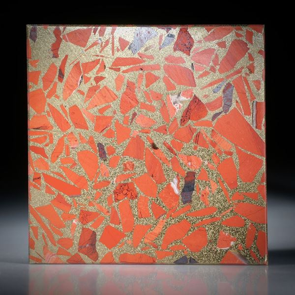 Jaspis rot in Messingmatrix, Viereck in Torsion geschliffen ca.43x43x3.5mm