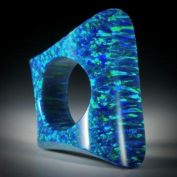 "Fingerring Opal synthetisch, Fantasieform ""Zweiflächer"", Innendurchmesser 18.5mm"