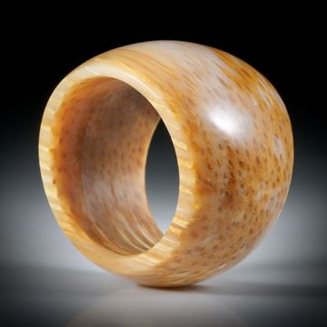 Steinring aus fossilem Palmholz, im Verlauf geschliffen und poliert, Innendurchmesser 19mm