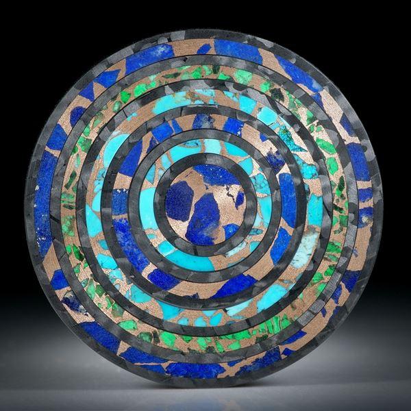 Scheibe aus Karbonringen mit eingeschliffenem Mawsitsit, Türkis und Lapislazuli in Bronzematrix, feinmatt ca.35x35x2.5mm