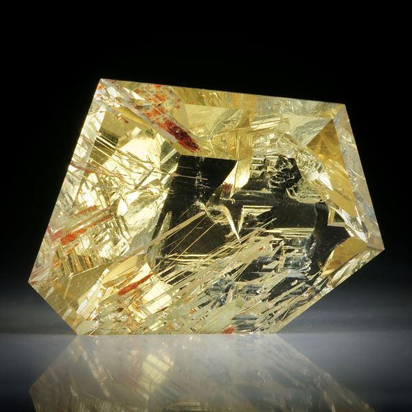 Goldberyll Spiegelschliff, 43.68ct. teilweise naturbelassen ca.31x22.5x11mm