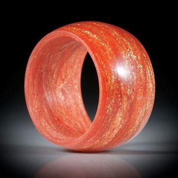 Glasfaser Fingerring, Permanentrot mit Glitzergold, innen/aussen bombiert, Breite 13.5mm, Innendurchmesser 18.2mm