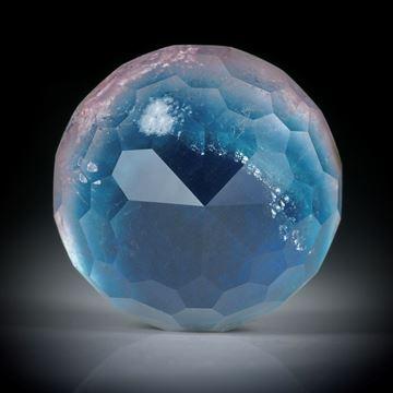 Turmalin mit Bergkristall doublettiert und unterlegt mit Perlmutter 34.86ct. runde Form facettiert ca.19.5x19.5x13.5mm