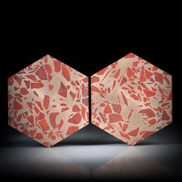Jaspis rot in Bronzematrix, Paar 90.16ct. Sechseckformen plangeschliffen matt, je ca.34x30x3mm