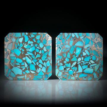 Türkis in Bronzematrix, Paar 92.09ct. Quadratformen leicht bombiert und poliert, je ca.30x30x4mm