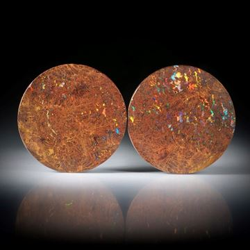 Matrix Opal Australien 27.39ct. Paar in Rondellenform, je eine Seite leicht gespannt und beidseitig poliert je ca.23x23x3.5m