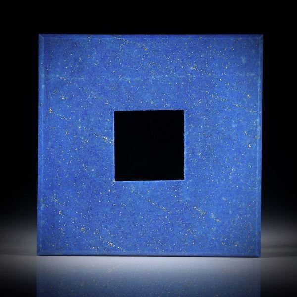 Lapislazuli, Viereckform mit quadratischer Bohrung ca.42x42x3.5mm