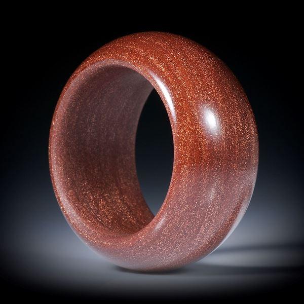Glasfaser Ring, Ocker Marokko mit Kupfer, bombiert mit gerundeten Innenkanten und poliert, Breite 12mm, Innendurchmesser 18mm