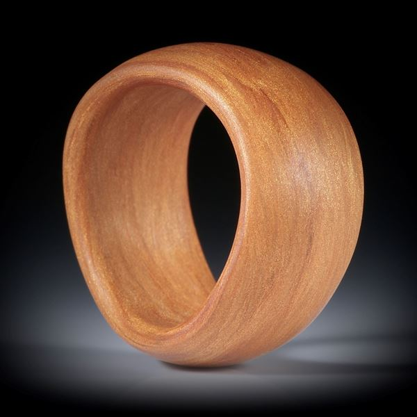 Glasfaser Ring, Royalgold, geschwungene Form, bombiert und feinmatt, Breite 12mm, Innendurchmesser 18mm