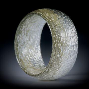 Glasfaser Ring mit Blattsilber (1000/1000), ovaler Querschnitt, poliert, Breite 10.5mm, Innendurchmesser 17.9mm