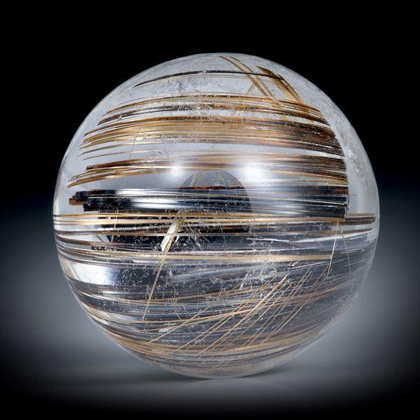 Rutilquarz Cabochon rund, mit braunen und dunkelgrauen Nadeln, ca.20x20x12mm