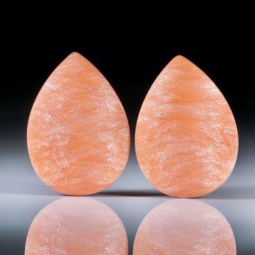 Tropfen Paar für Ohrschmuck, Glasfaser Cadmium hell mit Perlglanzpigment magic White, Tropfenform beidseitig gewölbt und feinmatt, je ca.27x19x7mm