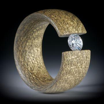 Glasfaser Bronze, Spannring mit Zirkonia 6mm, Innendurchmesser ca.19.6mm, Breite 12mm