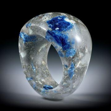 Lazulith in Quarz, Edelsteinring im Verlauf geschliffen und poliert, Innendurchmesser 20.1mm