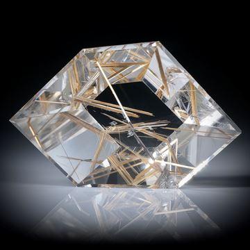 Rutilquarz, Rutil in Bergkristall, Spiegelschliff ca.50x32x16mm