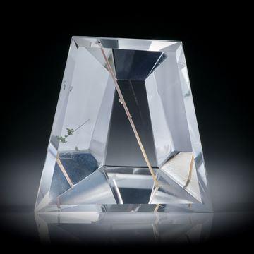 Rutilquarz, Rutil in Bergkristall, Spiegelschliff ca.28x28x14mm