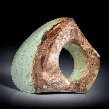 Edelsteinring Zitronenchrysopras, teilweise naturbelassener grosser Tafelring ca.42x39x32mm, Innendurchmesser 19mm