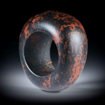 Mahagoni-Obsidian Fingerring, im Verlauf geschliffen feinmatt, Breite von 16.5mm auf 21mm, Innendurchmesser 19.5mm