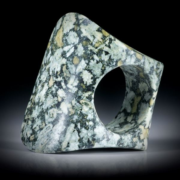 "Flowerstone (Porphyr) Fingerring, bequem geschliffene ""Zweiflächer""-Form, poliert/matt, Innendurchmesser 19mm"