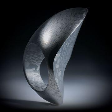 Carbon Fingerring, freie Form poliert, nach unten schmaler werdend, Innendurchmesser 19.1mm