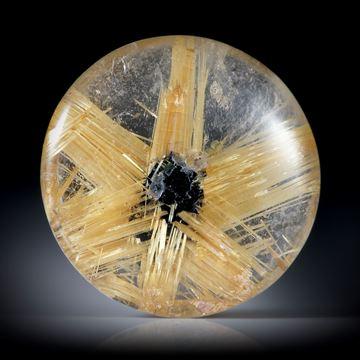 Rutilstern 6.4ct. runder Cabochon, beidseitig bombiert geschliffen und poliert, ca.14x14x4mm