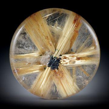 Rutilstern 10ct. runder Cabochon, beidseitig bombiert geschliffen und poliert, ca.16.5x16.5x4.5mm
