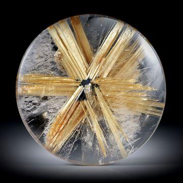 Rutilstern 76.35ct. runder Cabochon, beidseitig bombiert geschliffen und poliert, ca.37.5x37.5x7.5mm