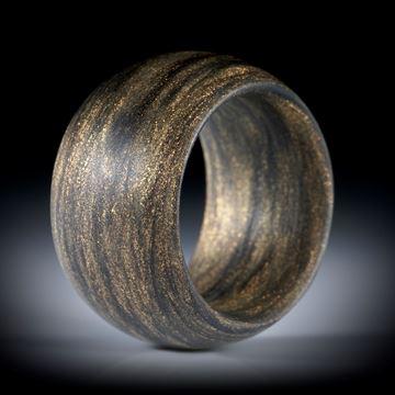 Glasfaser Fingerring, Mira Kupfer mit Anilinschwarz, Breite 14mm, innen und aussen bombiert, Innendurchmesser 18.5mm