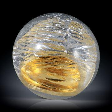 Fusing Glas Cabochon rund, 30x30x13.7mm, mit eingeschmolzenem Gold und Silber