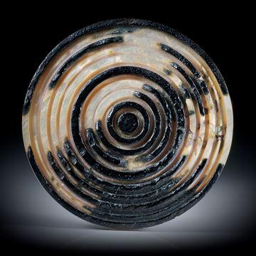 Abalone Rondelle mit konzentrisch gravierten Kreisen ca.48x48x3.5mm