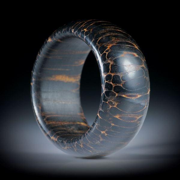 Palmholz Fingerring hochdruckstabilisiert, bombiert geschliffen und poliert, mit gerundeten Innenkanten, Innendurchmesser 20.1mm