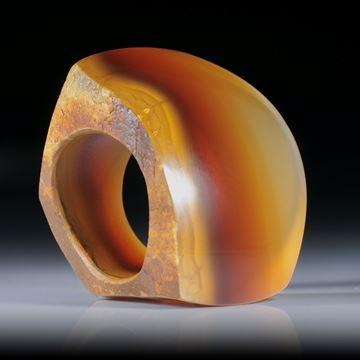 Edelsteinring Karneol, Tafelring poliert/mattiert, teilweise naturbelassen, Innendurchmesser 18.6mm
