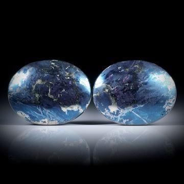 Covellin Paar für Ohrschmuck, ovale Form je ca.27x21x5mm