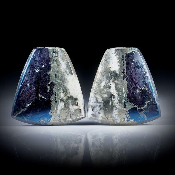 Covellin mit Pyrit, Paar in Trapezform je ca.27x26x4mm