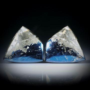 Covellin mit Pyrit, Paar für Ohrschmuck je ca.24x23x5mm