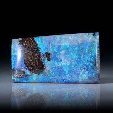 Boulderopal Australien, rechteckige Form mit dicker Opalschicht, 31.5x18x5.5mm