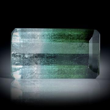 Turmalin 11.22ct.  Smaragdschliff, bicolor ca.18.5x10.5x6mm