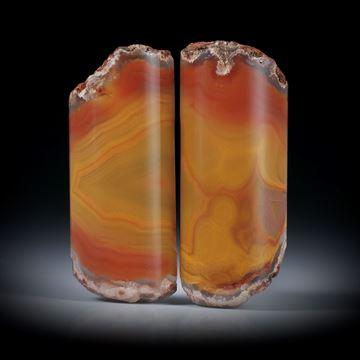 Karneol Paar, teilweise naturbelassen je ca.37x15x7mm