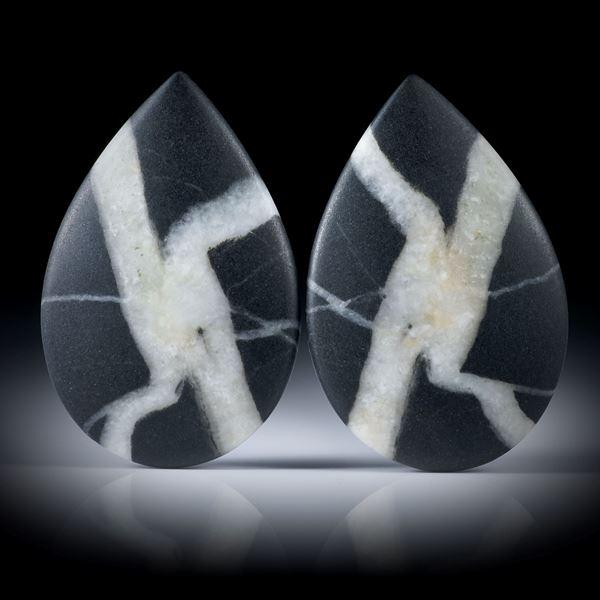 Kieselstein Paar, Tropfenform je ca.37x24x4mm, Oberseite bombiert und feinmatt