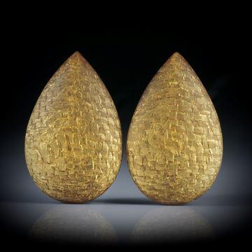 Komposit Tropfen Paar, Textilglas mit Blattgold, beidseitig bombiert und feinmatt, je ca.30x19x8.5mm