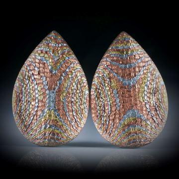 Komposit Tropfen Paar, Textilglas mit Blattmetall Kupfer, Alu und Messing, je ca.36.5x24x7mm