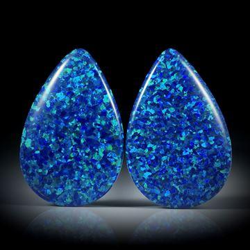 Opal synthetisch, Tropfen Paar, beidseitig bombiert und poliert, je ca.33x21.5x7mm