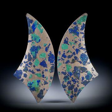 Azurit Malachit in Bronzematrix, Paar, einseitig konkav geschliffen und feinmatt, je ca.35x15x6mm