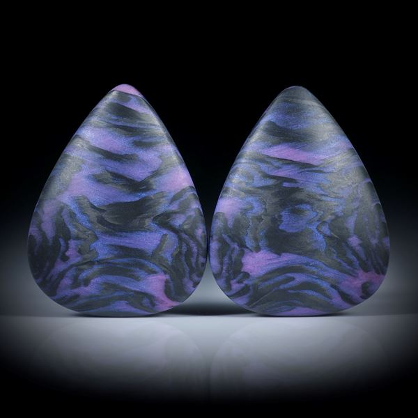 Carbonpaar mit Textilglas rosadynamisch, in Epoxymatrix, beidseitig bombiert, je ca.30x23.5x8mm