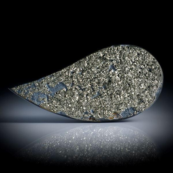 Pyritschiefer Tropfen mit naturbelassener Kristallfläche, ca.60x29x5.5mm