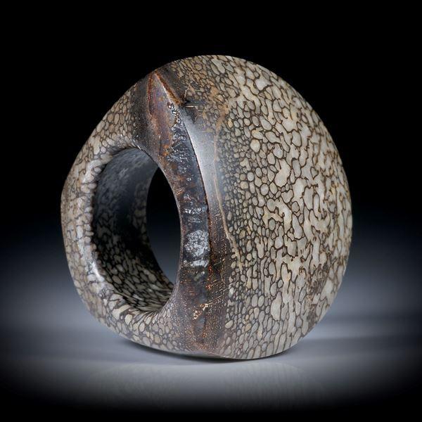 Fingerring aus versteinertem Saurierknochen, halbrunder Tafelring poliert, Innendurchmesser 18mm